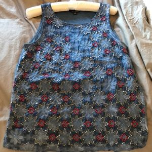 Lucky brand top size small bling front blue